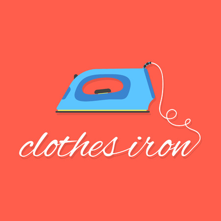 drudgery: clothes iron lettering on red background. concept of ironing, drudgery, electricity, homework, laundry room, dry cleaning of linen, housewife. flat style modern logo design eps10 vector illustration