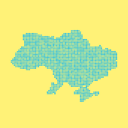 schooling: blue ukrainian map from dots. concept of schooling, poster decoration, mosaic, checkered card, colored atlas, national flag colors. flat style trendy modern design vector illustration
