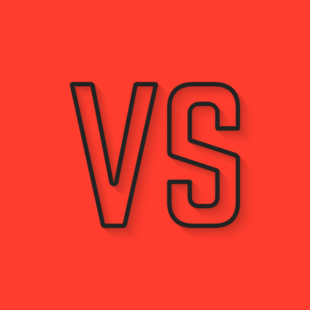versus: black versus sign on red background. concept of assault, opposition, confrontation, creative mark, struggle, military, vintage sign. flat style trendy modern design  vector illustration Illustration