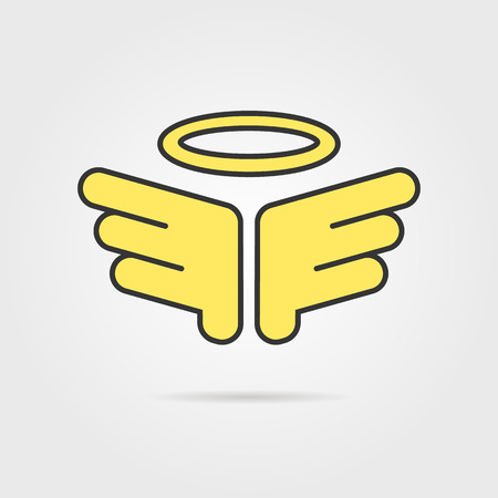 heavenly: yellow holy wings with shadow. concept of christian, believe, christianity, god, winged falcon, heavenly emblem. isolated on grey background. flat style modern logotype design vector illustration