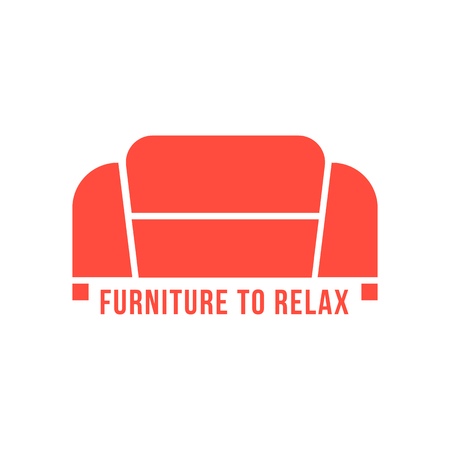 furnishings: furniture to relax with red sofa. concept of living room, apartment, furniture production, store or shop, office furnishings, company mark. flat style modern branding design vector illustration Illustration