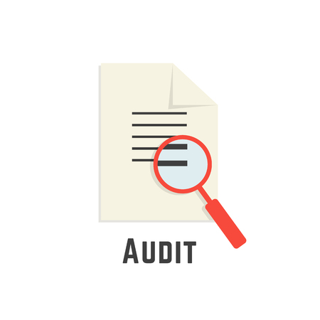 secret identities: yellow sheet with red magnifier like audit logotype. concept of paperwork, management, statistics, consultant, success, verify, adviser, calculate. flat style modern brand design vector illustration