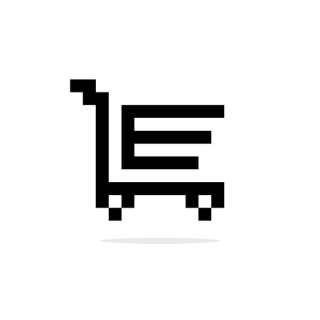8 bit: simple 8bit shopping trolley black icon. concept of merchant transportation, 8 bit videogame, product buyer, new order, hypermarket. isolated on white background. pixelart style modern logotype design Illustration