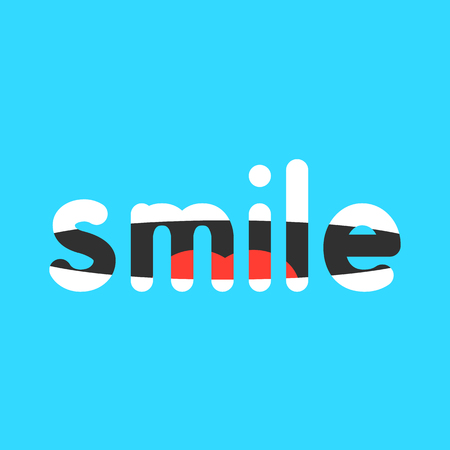 optimistic: abstract smile sign on blue background. concept of talking, smiling, laughing, lettering, simple mark, motivational, optimistic, smiley mood. flat style modern logotype design vector illustration