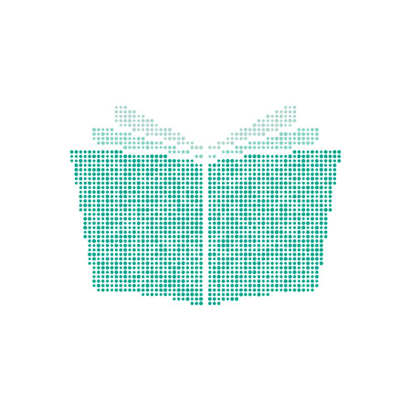 novel: opened book icon from green points. concept of mosaic, reading, notepad, diary, encyclopedia, magazine, album, diploma, novel, paperback, ebook. flat style modern brand design vector illustration