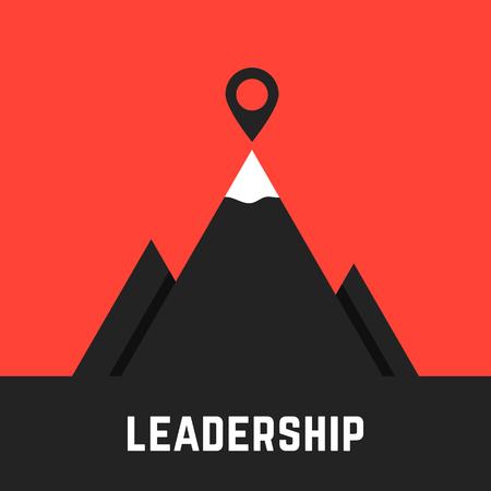 검은 산 리더십 은유. 록 아이콘, 관점, 아이디어, 팀 상승, 기업 회의, 사업 성과의 개념입니다. 빨간색 배경에 고립. 플랫 스타일의 현대 로고 디자인