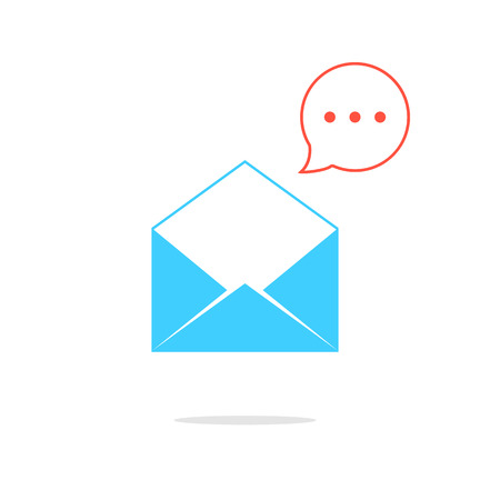 textual: blue opened letter with red speech bubble. concept of sms, spam, writing, postcard, salutation, chatting, mailbox, textual talking, checking email. flat style modern logo design vector illustration Illustration