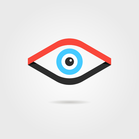 secret identities: eye logotype from red and black ribbons. concept of healthcare, anatomy, curve emblem, investigation. isolated on grey background. flat style modern brand design vector illustration Illustration