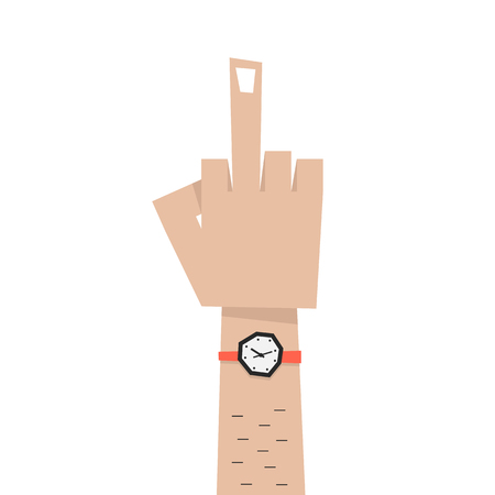 nonverbal: simple man hand with middle finger. concept of pointer, nonverbal, forefinger, brutal, rebel, emotional, punk, furious, lifestyle, bizarre, indecent. flat style modern eps10 design vector illustration