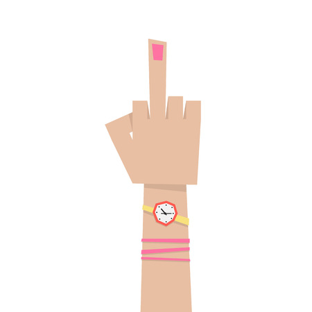 nonverbal: young girl hand with middle finger. concept of pointer, nonverbal, forefinger, brutal, rebel, emotional, punk, furious, lifestyle, bizarre, indecent. flat style modern eps10 design vector illustration Illustration
