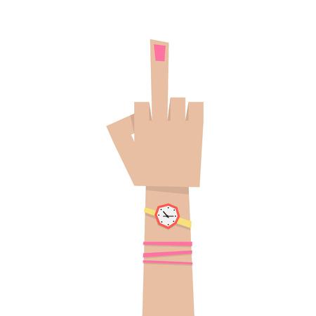 brutal: young girl hand with middle finger. concept of pointer, nonverbal, forefinger, brutal, rebel, emotional, punk, furious, lifestyle, bizarre, indecent. flat style modern eps10 design vector illustration Illustration