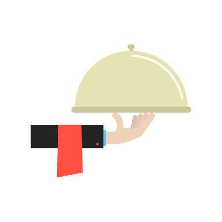 La main dans le plat de maintien de costume noir. concept de la gastronomie, salle à manger, bistro, ustensiles de cuisine, manger, déjeuner, petit déjeuner, vaisselle, cuisinier, manger, profession. le style plat à la mode conception illustration moderne Banque d'images - 53550814