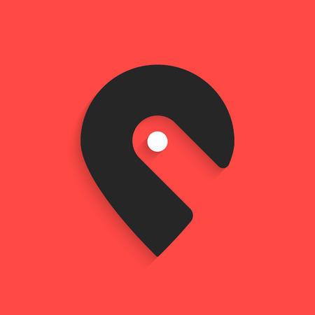 pin icon like hook with shadow. concept of mapping, coordinates, positioning, geography, transportation, navigator. isolated on red background.