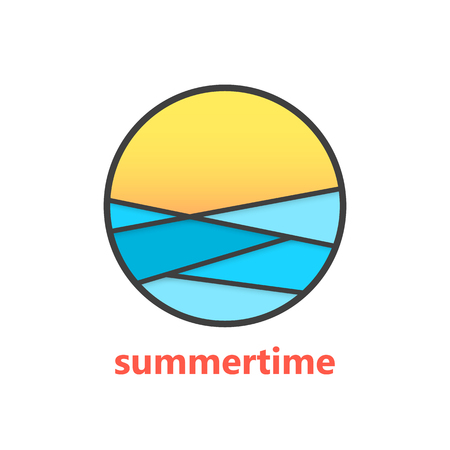 beach sun: summertime sign with waves and sunset. concept of marine, surfing, surface, exotic, rest, horizon, visual identity. isolated on white background. Illustration
