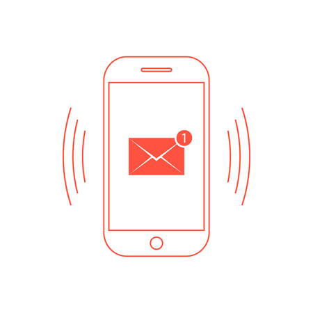 outline red: outline red smartphone with one email icon. concept of spam, service, marketing, mailing, announcement, reminder. isolated on white background.