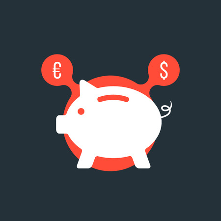 thrift: piggy bank with currency sign in red bubble. concept of poverty, commerce, frugality, economics, success, payment, thrift.