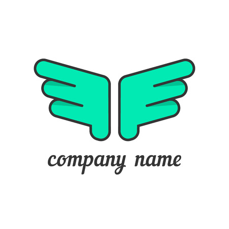 bird illustration: green wings like company branding. concept of flight, feather, luxury silhouette, hawk, firm distinctive feature, corporate symbol.