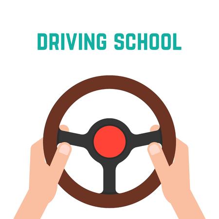 hand holding steering wheel. concept of trip, highway, guide, equipment, rudder, handlebar, training in driving school. Vettoriali