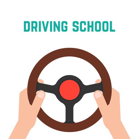 hand holding steering wheel. concept of trip, highway, guide, equipment, rudder, handlebar, training in driving school. Vectores