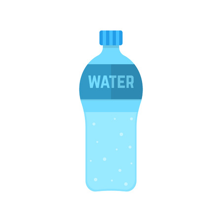 refreshment: bottle of water isolated on white background. concept of drinking, healthcare, hydration, refresh energy, refreshment, fizzy water, desire to drink. flat style trendy modern design vector illustration Illustration