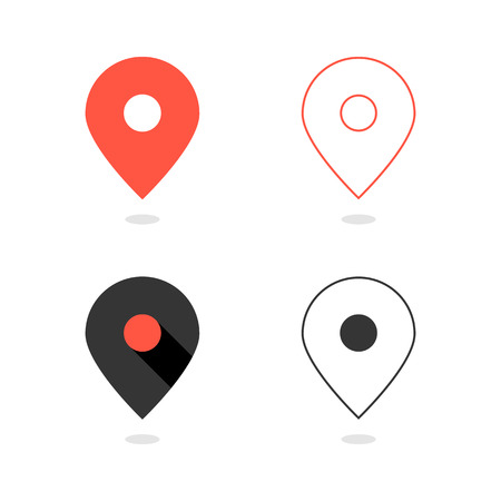 navigate: set of simple pin icons with shadow. concept of cartography, navigate, geotagging, mapping, landmark, geography. isolated on white background. flat style modern logo design vector illustration