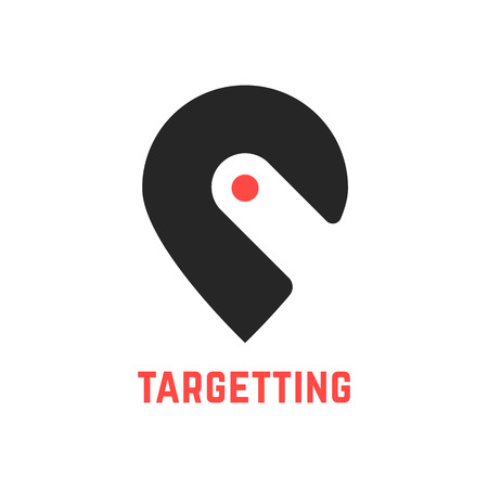 points of interest: targetting sign with pin like hook. concept of cartography, navigate, geotagging, mapping, landmark, geography. isolated on white background. flat style modern brand design vector illustration