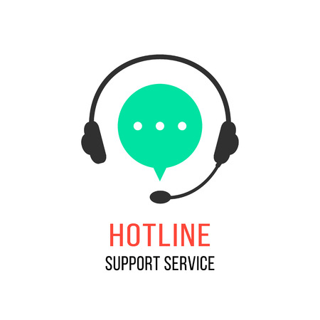 customer support: hotline support service with headphones. concept of consultation, telemarketing, consultant, secretary. isolated on white background. flat style modern brand design vector illustration