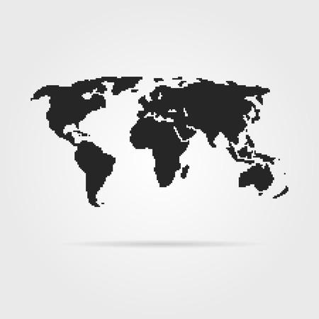 pix: black pixel art world map with shadow. concept of 8bit videogame, graphic wallpaper, school education, locations. pixelart style trendy modern design vector illustration