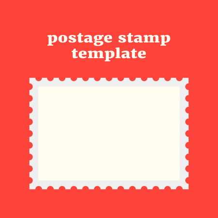 post stamp: postage stamp template on red background. concept of message, indentation, cardboard, stationery, poststamp, backdrop, post-office. flat style trendy modern design vector illustration Illustration