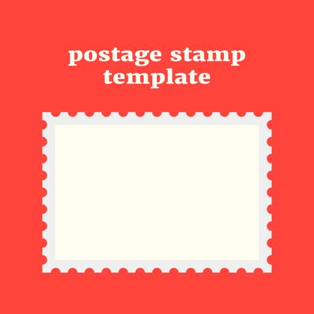 indentation: postage stamp template on red background. concept of message, indentation, cardboard, stationery, poststamp, backdrop, post-office. flat style trendy modern design vector illustration Illustration