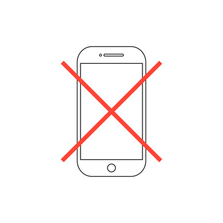 silent: outline smartphone with red cross. concept of protest, announce, notice, cancel, quiet zone, hazard, silent mode. isolated on white background. flat style modern logo design vector illustration