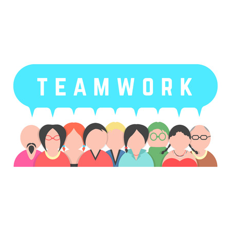 crowd of people with speech bubble. concept of unity, career, conversation, meeting, partnership, coworking center. isolated on white background. flat style trendy modern design vector illustration Vectores