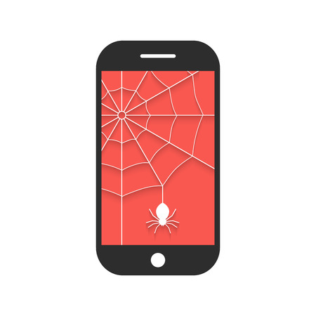 spyware: smart phone with cobweb and shadow. concept of protect, support, tech service, criminal hacker, privacy, spam, programming. isolated on white background. flat style modern design vector illustration