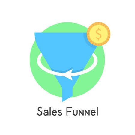 stratagem: simple sales funnel in green circle with coin. concept of social network, e-commerce, plan, economy, stratagem. isolated on white background. flat style trend modern logo design vector illustration