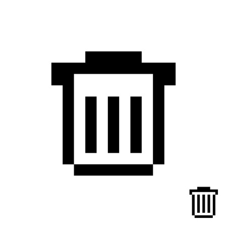 refuse: black pixelart trash can. concept of protection, wastebasket, conservation, refuse bin, delete button, supplies. isolated on white background. 8 bit style modern logotype design vector illustration