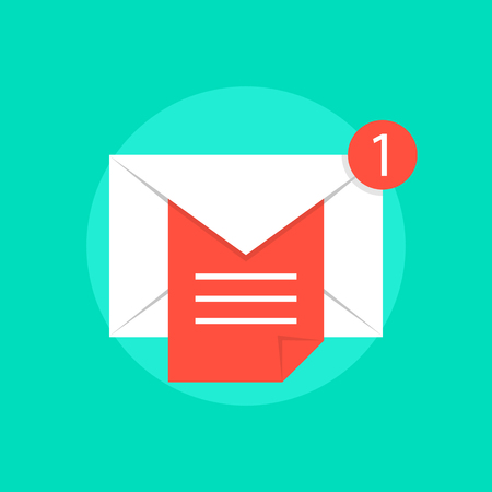email envelope: mail notice with white letter and red sheet. concept of support, spam, document, counter incoming, mobile apps. isolated on green background. flat style trend modern logo design vector illustration