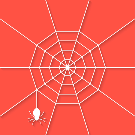 haunting: white cobweb with shadow on red background. concept of netting, warning, thread, haunting, invertebrate, tarantula, dangerous, evil. flat style trend modern design vector illustration