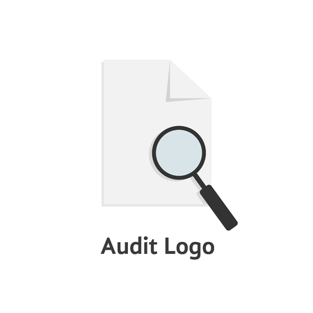 findings: audit logotype with sheet of paper and magnifying glass. concept of infographic element, search, management, office. isolated on white background. flat style modern logo design vector illustration