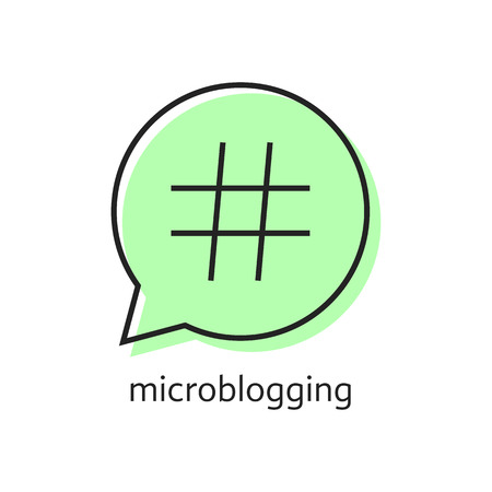 microblogging: outline hashtag icon in green speech bubble. concept of pr, popularity, speak, promote, blog, microblogging. isolated on white background. flat style trend modern logotype design vector illustration Illustration