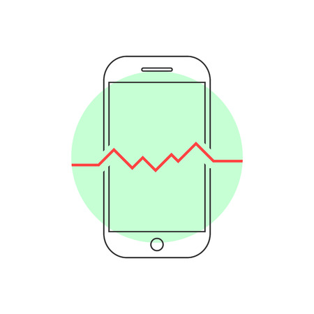 recover: outline smart phone with heartbeat. concept of tech, solution problem, recycle, recover, test, health, safety. isolated on white background. flat style trend modern brand design vector illustration