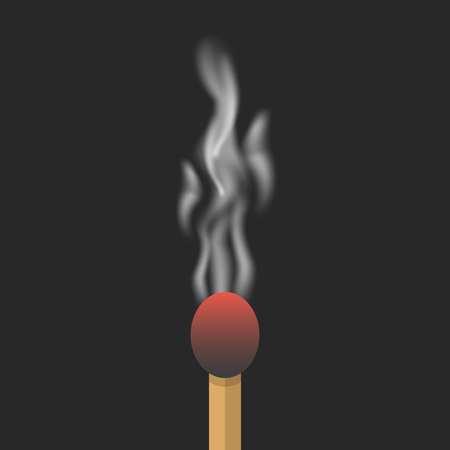 the weariness: burned match with smoke. concept of inspiration, destruction, failure, setback, exhausted, weariness, impotence. isolated on black background. flat style trend modern design eps10 vector illustration Illustration