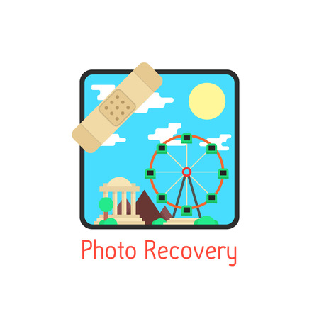 photoalbum: photo recovery with medical plaster. concept of family photo archive, photoalbum, snapshot. isolated on white background. flat style trend modern logo design vector illustration
