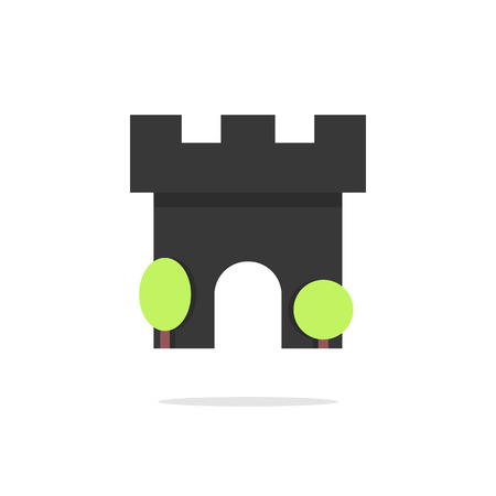 defend: black fortress icon with trees and shadow. concept of residence, monument, security, defend, defensive structure. isolated on white background. flat style modern logotype design vector illustration