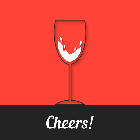 sommelier: black wineglass icon on red background. concept of bordeaux, drunk, alcoholic, sommelier, lounge, toast whoop, liquor store, wishes. flat style trend modern logo thin line design vector illustration
