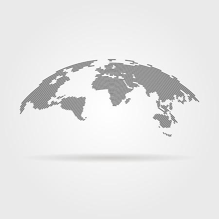 einfache schwarze Weltkarte von dünnen Linie. Konzept von Infografiken Element, Reise um die Welt, die Globalisierung. auf grauem Hintergrund isoliert. Wohnung Stil Trend modernen Logo-Design Vektor-Illustration
