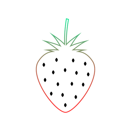 wild strawberry: colored wild strawberry icon. concept of nutritional, agriculture, berries for jam, dietary. isolated on white background. flat style trend modern logotype thin line design vector illustration Illustration