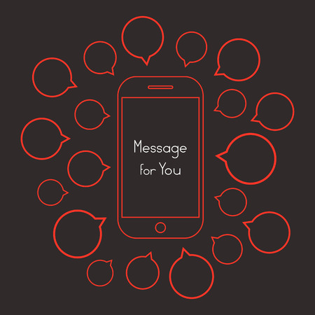 messaging: message for you with red smartphone and speech bubbles. concept of messaging, texting, chatting, networking, receive, feedback, support. flat style trend modern design illustration