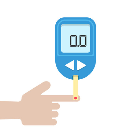 home glucometer with hand. concept of pharmacy, portable technology, measuring, analysis, hypoglycemic, glycemia. isolated on white background. flat style trend modern design illustration