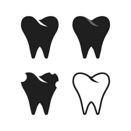 dental surgery: set of simple black tooth. concept of anatomy, healthcare, protection, clinical, tooth doctor, dental surgery. isolated on white background. flat style trend modern design illustration Illustration