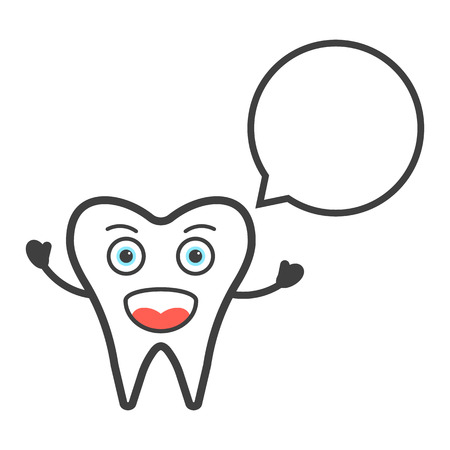 dental surgery: funny tooth character with speech bubble. concept of anatomy, healthcare, protection, clinical, dental surgery. isolated on white background. flat style trend modern design illustration